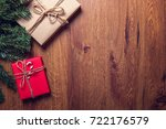christmas gift box and tree... | Shutterstock . vector #722176579