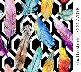 watercolor bird feather pattern ... | Shutterstock . vector #722177098