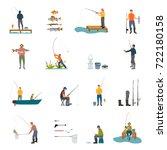 fishing activity of man ... | Shutterstock .eps vector #722180158