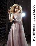 beautiful blonde young bride... | Shutterstock . vector #722182006