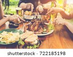 close up hand  eating.group of... | Shutterstock . vector #722185198