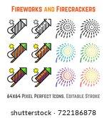 firework rocket  explosion... | Shutterstock .eps vector #722186878