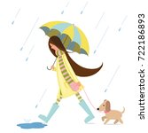 a girl is walking with a dog. | Shutterstock .eps vector #722186893