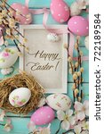 colorful easter greeting card... | Shutterstock . vector #722189584