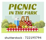 recreation in nature. picnic.... | Shutterstock .eps vector #722195794