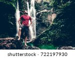 happy man backpacker enjoying... | Shutterstock . vector #722197930