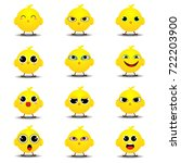 collection of funny chick on... | Shutterstock .eps vector #722203900