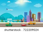 transportation and city traffic ... | Shutterstock .eps vector #722209024