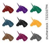 unicorn icon in black style... | Shutterstock .eps vector #722210794