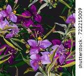 summer garden flowers seamless  ... | Shutterstock . vector #722215009