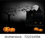 halloween and dark castle on... | Shutterstock .eps vector #722216506