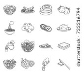 fruit  dessert  sandwiches and... | Shutterstock .eps vector #722216794
