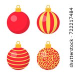 set of red christmas balls with ... | Shutterstock .eps vector #722217484