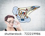 portrait of a young surprised...   Shutterstock . vector #722219986