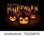 happy halloween party vector... | Shutterstock .eps vector #722220070