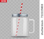glass mason jar with handle for ... | Shutterstock .eps vector #722225803