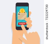 hand holding mobile smart phone ... | Shutterstock .eps vector #722229730