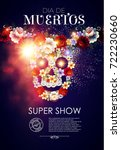 day of the dead poster template ... | Shutterstock .eps vector #722230660