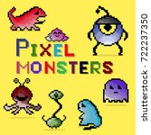 set of pixel colorful monsters. ... | Shutterstock . vector #722237350
