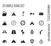 set of 20 editable camping... | Shutterstock .eps vector #722239084