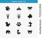 set of 12 editable zoo icons.... | Shutterstock .eps vector #722241304