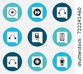 set of 9 editable media icons....