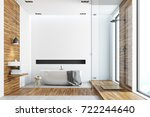 white and wooden bathroom... | Shutterstock . vector #722244640