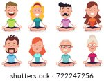 meditation of young and senior...   Shutterstock .eps vector #722247256