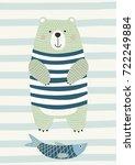 bear with fish in scandinavian... | Shutterstock .eps vector #722249884