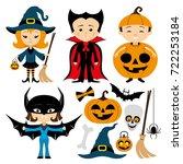 halloween set. | Shutterstock .eps vector #722253184