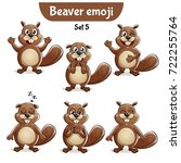 vector set of cute beaver... | Shutterstock .eps vector #722255764