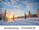 snowy landscape at sunset ... | Shutterstock . vector #722256478
