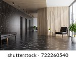 Stock photo black marble and wooden elevator hall in an office with a panoramic window there are three black 722260540