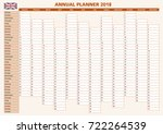 2018 annual planner. english... | Shutterstock .eps vector #722264539