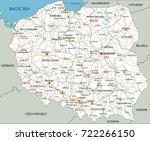 high detailed poland road map... | Shutterstock .eps vector #722266150