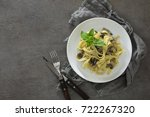 tagliatelle with mushroom... | Shutterstock . vector #722267320