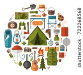hiking icons set. camping... | Shutterstock . vector #722268568