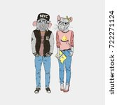 rats couple dressed up in urban ... | Shutterstock .eps vector #722271124