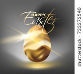 beautiful  shiny golden egg...   Shutterstock .eps vector #722272540