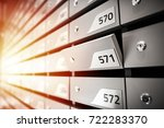 mail boxes filled of leaflets... | Shutterstock . vector #722283370