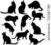 Stock vector set vector silhouettes of the cat different poses standing and sitting black color isolated on 722287780