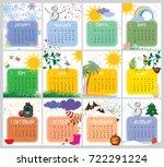 vector calendar with a unique...   Shutterstock .eps vector #722291224