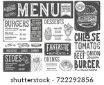 burger food menu for restaurant ... | Shutterstock .eps vector #722292856