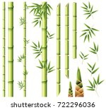 bamboo stems and leaves... | Shutterstock .eps vector #722296036