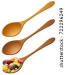 wooden spoons with mixed fruit... | Shutterstock .eps vector #722296249