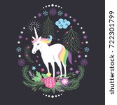 magic unicorn for greeting card | Shutterstock .eps vector #722301799