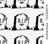 doodle style tombstone with rip ... | Shutterstock .eps vector #722303074