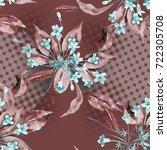 seamless pattern with weigela... | Shutterstock . vector #722305708