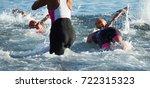 group triathlon participants... | Shutterstock . vector #722315323