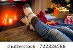 family in wool socks relaxing... | Shutterstock . vector #722326588